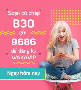 Soạn cú pháp B30 gửi 9686 để đăng ký WAKAVIP Ngay hôm nay